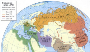 Map of Eurasia showing Russian, Ottoman, Safavid, Mughal, and Qing Empires